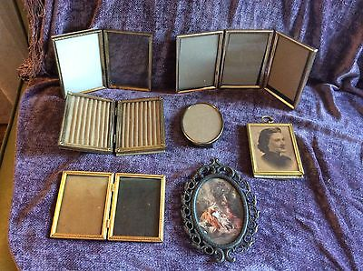 Lot Vintage Ornate Filigree brass metal Frames Gold mid century picture photo
