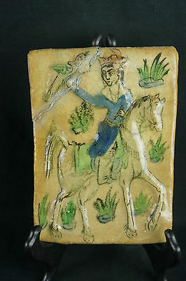 "Great Antique european tile, hand painted, repair 7"" [Y7-W6-A9-E9]"