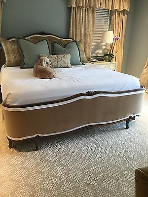 Antique French Louis Xiv King Size Upholstered Bed