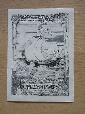 Jessie M King Bookplate For Charles D. Edwards. Ship At Sea. Art Nouveau Style