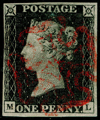 Sg3, 1d grey-black PLATE 2, FINE used. Cat £525. RED MX. 4 MARGINS. ML