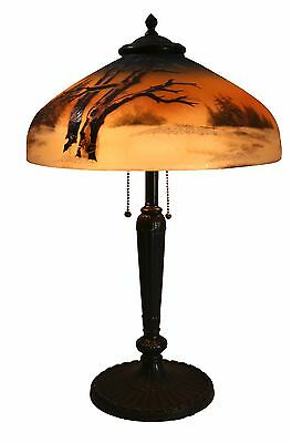 Antique Pittsburgh Obverse And Reverse Painted Glass Table Lamp