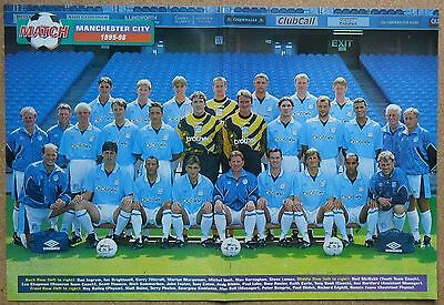 "MANCHESTER CITY FOOTBALL TEAM POSTER 1995-96 SEASON 18"" x 12"""