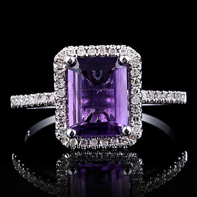 Sterling Silver Pave Prong Engagement Wedding 6x8mm Cushion Amethyst Fine Ring