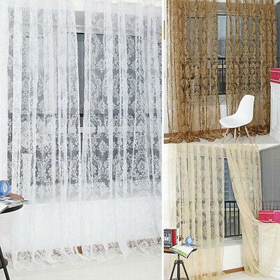 Floral Tulle Voile Door Room Window Curtain Drape Panel Sheer ...