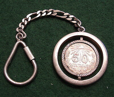 Vintage Mexican Sterling Silver Key Ring w/ Silver 1945 Mexican 50 Centavos Coin