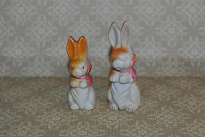 Pair Vintage Bisque Easter Rabbits Pink Bows Japan