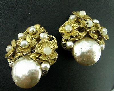 Miriam Haskell Vintage Glass Baroque Pearl Cabochon Cluster Filigree Earrings