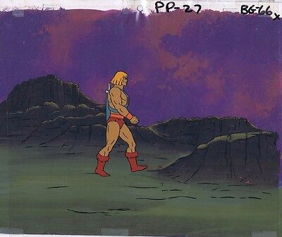 He-Man MOTU Original Production Animation Cel & Hand Painted Background #A12716