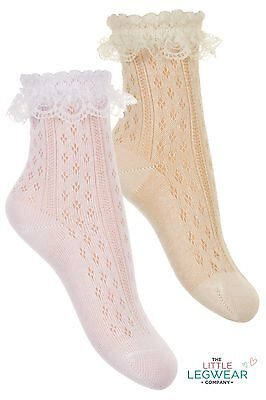 SPANISH Girls Baby Frilly Lace Fine Ankle Socks Special Occasions Bridesmaid