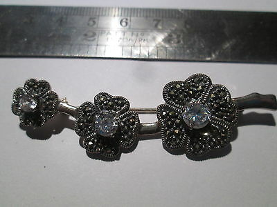 sterling silver marcasite and cz flower brooch