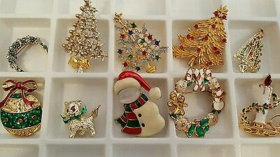 Vintage Christmas tree & other Christmas brooches