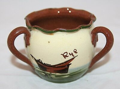 Vintage Motto Ware Pottery 3 Handled Bowl