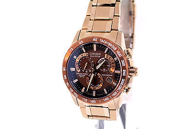 Men's Citizen AT4106-52X Eco-Drive Perpetual Chrono A-T Rose Gold-Tone Watch
