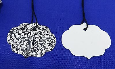 100 Qty Elegan Ornate Oval Designer Print Merchandise Strung Price Tags