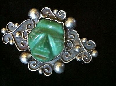 Vintage Carved Jade Aztec Mask Mexican Brooch Pin Silver 900