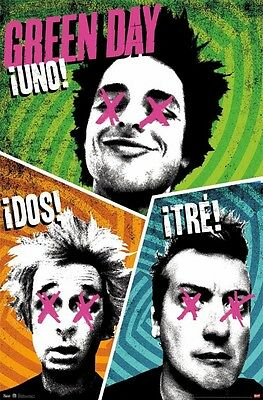 GREEN DAY ~ UNO! DOS! TRE! 22x34 MUSIC POSTER Billie Joe Armstrong Dirnt Cool