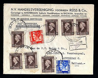 13937-NETHERLAND INDIES-AIRMAIL REGISTERED COVER BATAVIA to HOLLAND.1948.WWII.