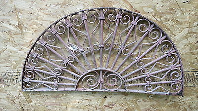Antique Victorian Iron Gate Window Garden Fence Architectural Salvage Transom K