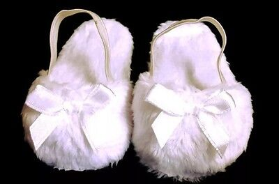 "White Fuzzy Slippers Doll Shoes for 18"" American Girl Doll NIP"