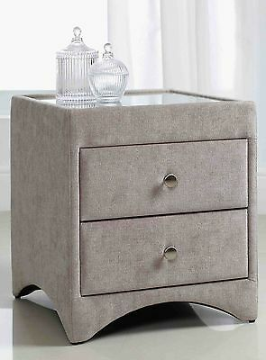 A Pair Of Kaydian 2 Drawer Wool Mink Fabric Bedside Tables - Sale