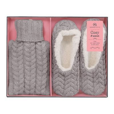 Aroma Home Hot Water Bottle & Slippers GREY