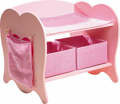 WOOD DOLLS DIAPER CHANGING TABLE + ACCESSORIES Furniture Children's Toy New