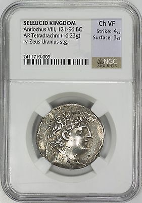 Seleucid Kingdom, Antiochus VIII 121-96BC, Ancient Silver Coin - NGC Choice VF