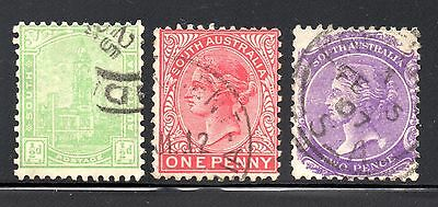 South Australia #144-146 used, watermarked crown and A