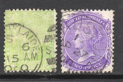 South Australia #114 & 116 used, watermarked crown and letters SA close