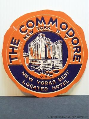 Vintage Luggage Label The Commodore Hotel New York City NY Travel