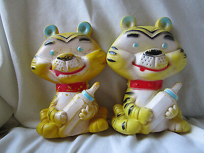 Vintage 2 Rubber Squeak Tigers with baby bottles by Alan Jay Carolyte one works