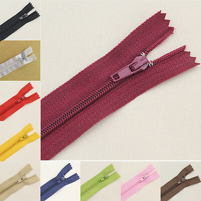 10pcs Nylon Coil Zippers Tailor Sewer Craft 9Inch Crafter's DIY Clothes Colorful