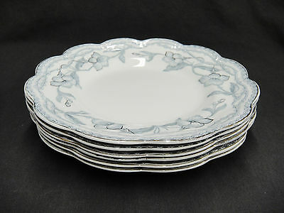 "Johnson Bros The Lothair Lot 6 Luncheon 9"" Plates Blue Gold Trim Rope Edge"