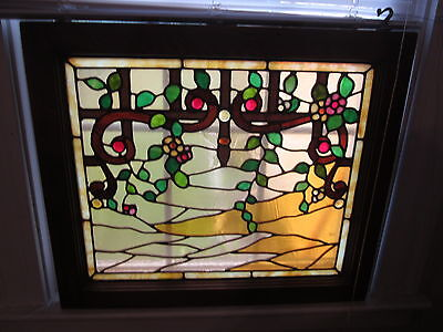 Antique Victorian Stained Glass Window, trellis w/fruit, 15 jewels, orig frame