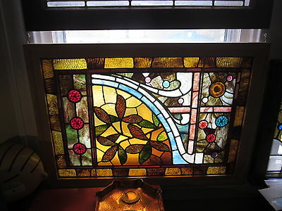 c.1890 Stunning Antique Aesthetic Stained Glass Window, 13 jewels, new frame