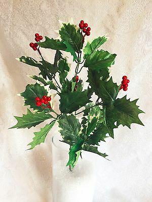 HOLLY x 7 BERRY BUSH Christmas Filler Greenery Silk Wedding Flowers Centerpieces