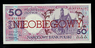 Poland  50  Zlotych  1990 Pick # 169  Unc Banknote.