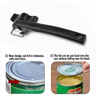 Ergonomic Smooth Edge Side Cut Manual Tin Can Opener Cans Lid Lifter Kitchen Kit