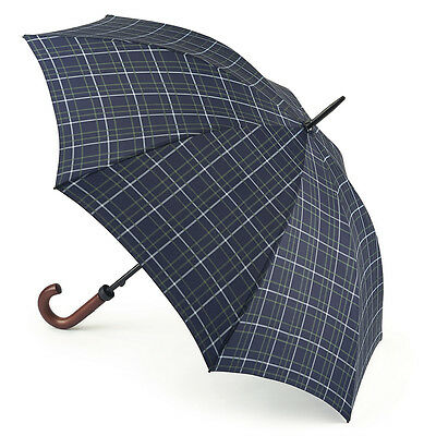 Fulton Huntsman Wood Handle Walking Umbrella - Double Check Navy