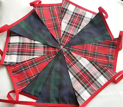 TARTAN MIX BUNTING Bundles 20/40/60/120ft Red White Black Handmade Fabric Banner