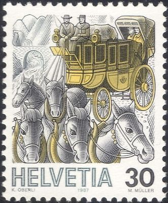 Switzerland 1986 Mail Coach/Stage/Stagecoach/Horses/Postal Transport 1v (n23800)