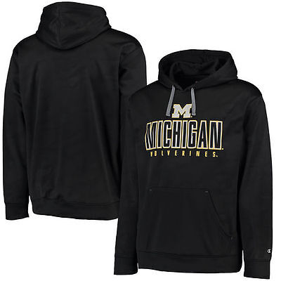 Michigan Wolverines Champion Chrome Polyester Pullover Hoodie - Black - NCAA