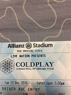 COLDPLAY | SYDNEY | TWO GOLD SEATED TICKETS | TUE 13 DEC 2016-2 x Seated Tickets