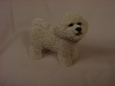 BICHON FRISE FIGURINE dog HAND PAINTED COLLECTIBLE Resin Statue white puppy NEW