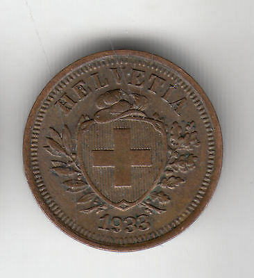 Swiss 1 Cent 1933 Copper Shield    63C           By Coinmountain