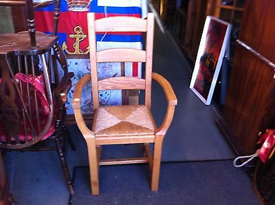 Pair Light Oak Carvers Rush Seated Chairs No Reserve