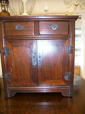 """WOODEN Cupboard with Shelf and 2 Drawers 16.5"""" TALL FOR A BENCH OR TABLE TOP"""