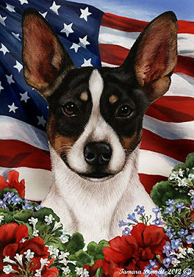 Large Indoor/Outdoor Patriotic I Flag - Rat Terrier (Tri) 16324