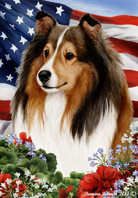 Large Indoor/Outdoor Patriotic I Flag - Sable Shetland Sheepdog Sheltie 16014